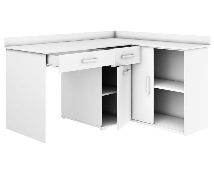 Chwalebne biurko narożne MICHAŁ III BIAŁY duże szkolne dziecięce biurowe VK68