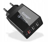 Ładowarka sieciowa 3x USB Essager 30W 2.4A+ QC 3.0 czarna