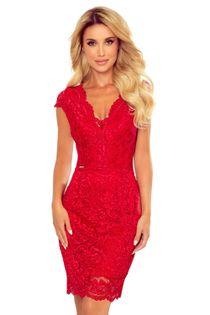 Koronkowa sukienka z krótkim rękawem i dekoltem w serek - Czerwony S