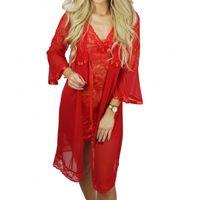 Ekskluzywny komplet DINA koszula + szlafrok  czerwony Beauty Senses BS001249 S/M Czerwony