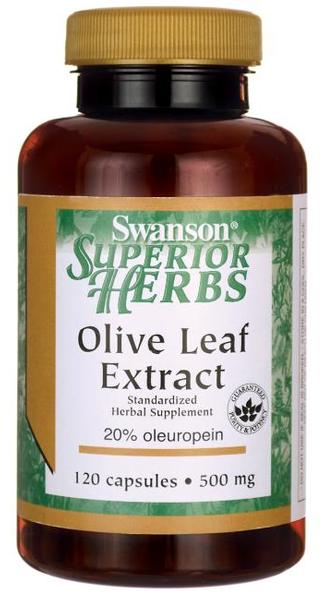 Liść oliwny ekstrakt Olive Leaf Extract 500mg 120 kapsułek SWANSON zdjęcie 1