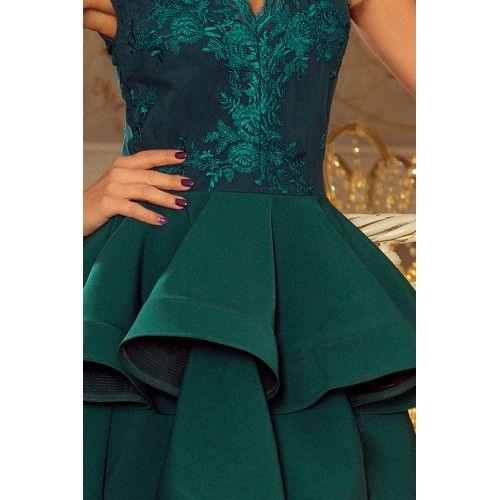 d0d92a13b0d3ed CHARLOTTE - ekskluzywna sukienka z koronkowym dekoltem - ZIELONA XL zdjęcie  6