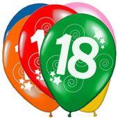 Balony 18 urodziny kolorowe z nadrukiem 12 sztuk