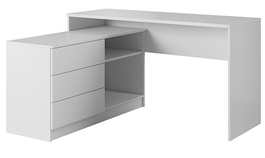 BIAŁE biurko LAO komputerowe narożne szuflady