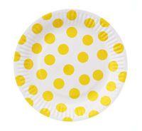 Talerzyki w GROCHY kropki żółte, 18 cm, 6 szt