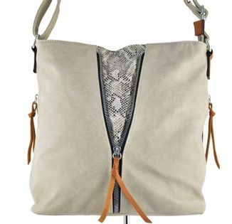 Listonoszka torebka damska szara na ramię torba worek z przegródką