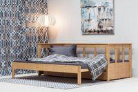 Wyjątkowo praktyczna dwupoziomowa sosnowa sofa do salonu czy sypialni