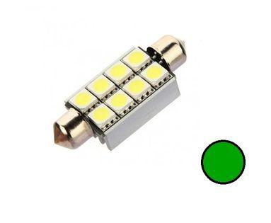 ŻARÓWKA LED SV8.5, C5W, C20W rurkowa 12V CANBUS 42mm 160lm zielona