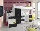 łóżko piętrowe z biurkiem szafą  RAJ 4s  + materac / 8 kolorów połysk
