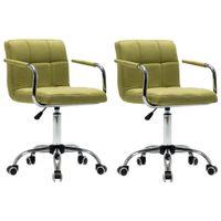 Obrotowe krzesła do jadalni, 2 szt., zielone, tkanina
