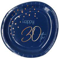 talerzyki NIEBIESKIE 30 lat URODZINY urodzinowe