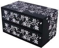 Pudełko Kartonowe 2 Szuflady Poziome Barokowe Kwiaty Czarne
