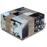 Stolik kawowy z elementami ze skóry bydlęcej 60x60x36 cm