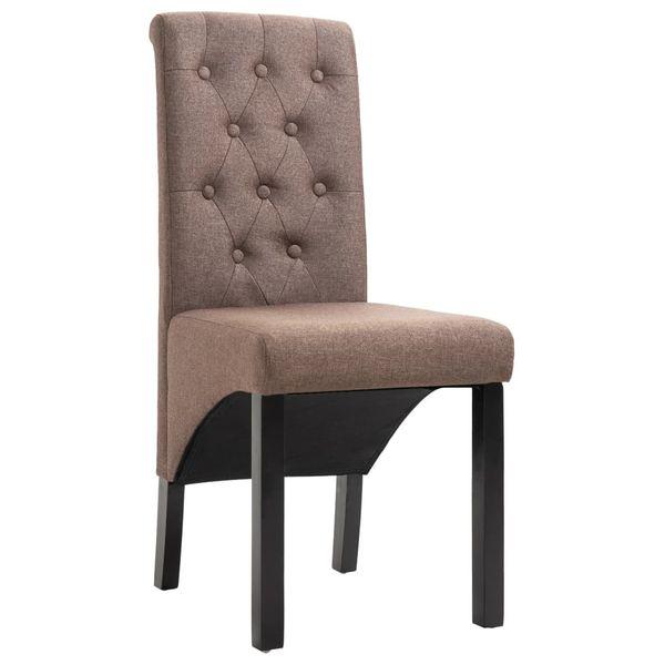 Krzesła Stołowe, 2 Szt., Brązowe, Tapicerowane Tkaniną zdjęcie 3