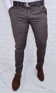 Eleganckie spodnie męskie w jodełke brązowe 77 - 34