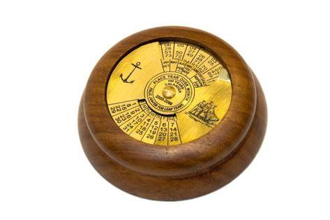 Kalendarz 100-letni mosiężno - drewniany NI1417, śr. 6,5cm
