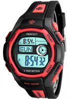 Męski i Młodzieżowy Zegarek Elektroniczny PERFECT - Wielofunkcyjny - AM PM, Druga Strefa Czasowa, Stoper 12 Międzyczasów, 3x Alarm, Timer, Data + Pude