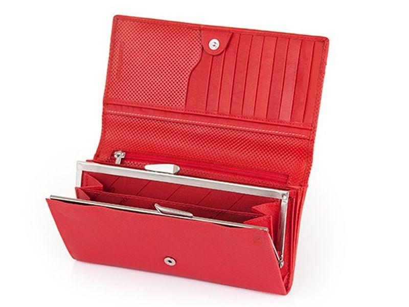 Długi, klasyczny portfel damski Samsonite, skórzany w kolorze czerwonym zdjęcie 2