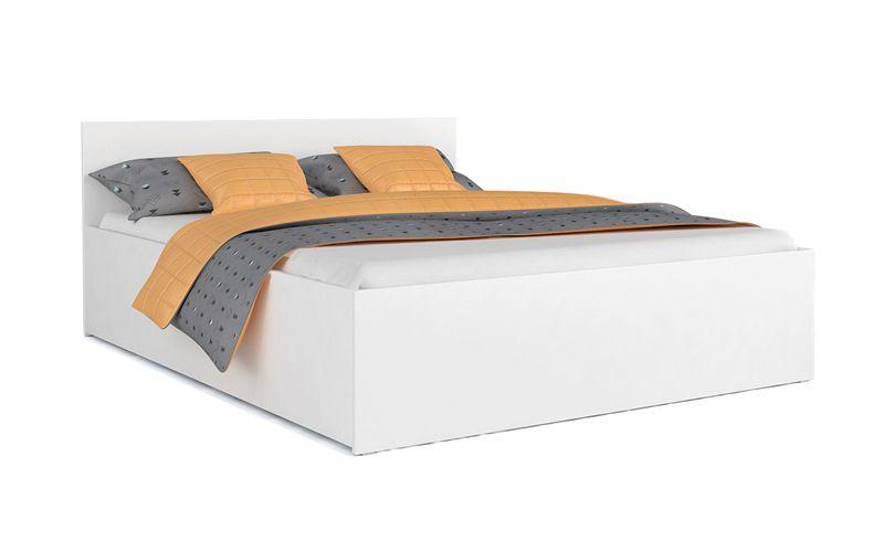 łóżko Panama Biel Szary 140x200 Stelaż Materac