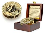 Mosiężny kompas zegar słoneczny szkatułka GRAWER PREZENT na ŚWIĘTA