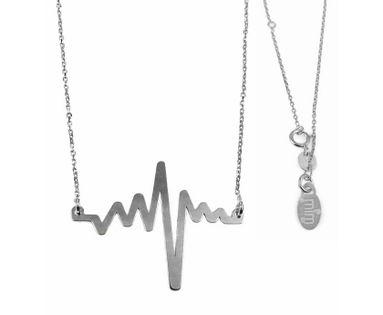 Delikatny rodowany srebrny naszyjnik gwiazd celebrytka linia życia tętno puls srebro 925 N045S