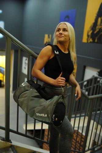 Torba sportowa na siłownię  fitness szara z komorą na buty + etui na Arena.pl