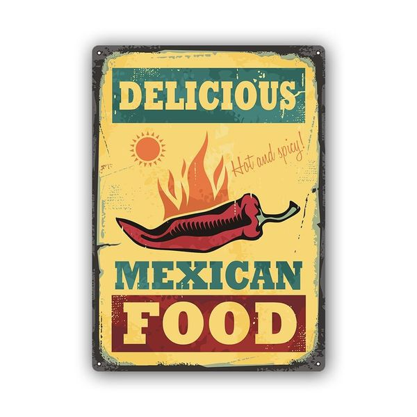 Wydruk na metalu, Retro – meksykańskie jedzenie 40x60 zdjęcie 1