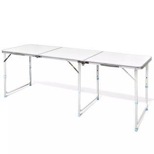 Składany, Aluminiowy Stół Kempingowy Z Regulacją Wysokości 180 X 60 Cm