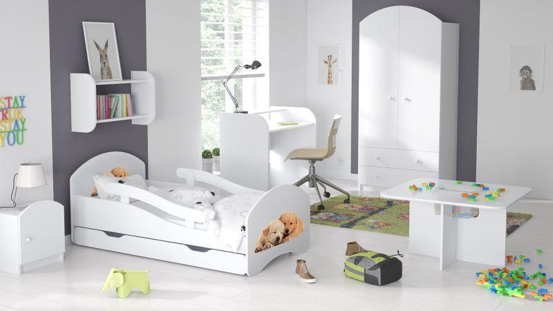Łóżko dziecięce łóżeczko 140x70 białe szuflada materac dla dziecka zdjęcie 18