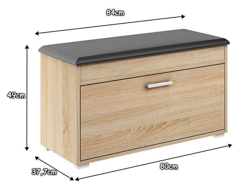 szafka półka na buty kuferek FALA 1 SONOMA SZARA z siedziskiem 80 zdjęcie 6