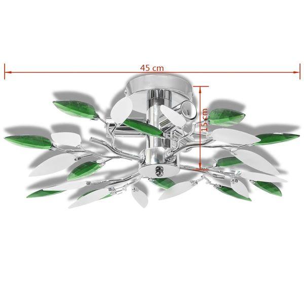 Lampa sufitowa, plafon, białe i zielone listki 3 żarówki E14 zdjęcie 6
