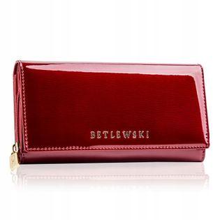 BETLEWSKI portfel damski skórzany lakierowany duży