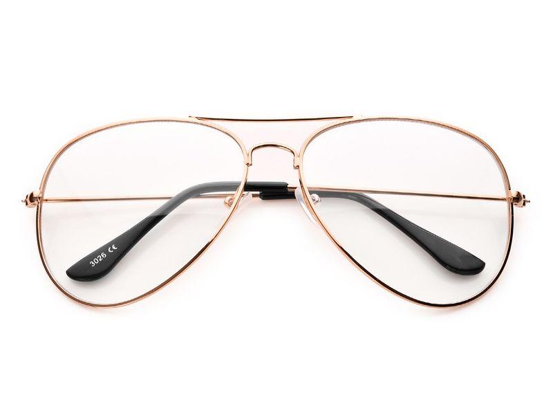 złote okulary ZERÓWKI PILOTKI zdjęcie 1