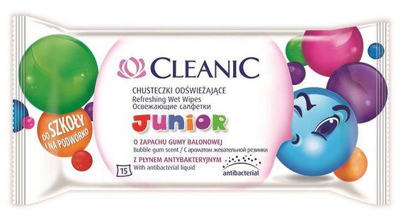 Junior chusteczki odświeżające dla dzieci z płynem antybakteryjnym Guma Balonowa 15szt.