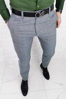 Szare eleganckie spodnie regular w oryginalna krate imaginazzi 2350/440 - 36