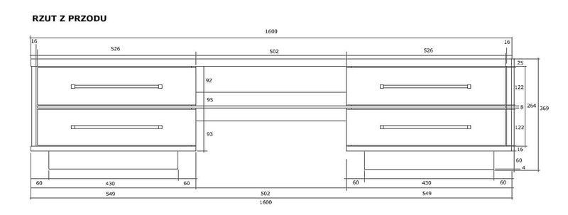 Szafka RTV 160cm 4 szuflady sonoma/biały połysk zdjęcie 3
