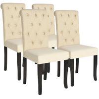 Krzesła Do Jadalni, 4 Szt., Lite Drewno I Kremowa Tkanina