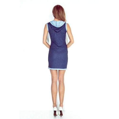 63518d052a Sukienka z kapturem - KANGURKA - krótka - jeans CIEMNY GRANAT XS zdjęcie 2
