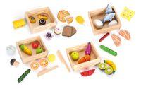 Drewniane artykuły spożywcze w 4 skrzynkach