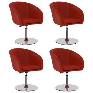 Krzesła stołowe, 4 szt., czerwone, sztuczna skóra