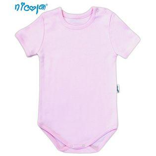 """009 04 Body niemowlęce z krótkim rękawem """"Basic"""" Nicol - różowy,"""