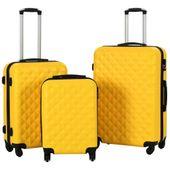 Zestaw twardych walizek, 3 szt., żółte, ABS 91890