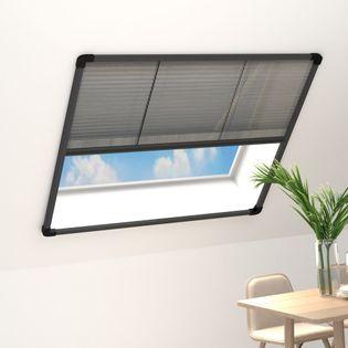 Lumarko Plisowana moskitiera okienna, aluminium, antracyt, 130x100 cm