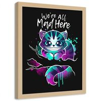 Plakat na ścianę w ramie naturalnej, Kot z Cheshire dla młodzieży 40x60
