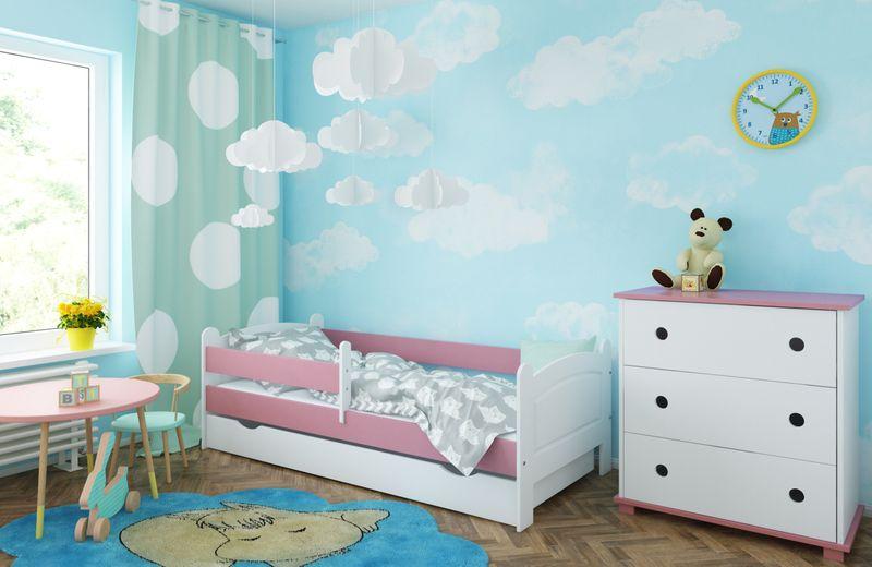 Łóżko AMELIA 180x80 szuflada + barierka zabezpieczająca + MATERAC zdjęcie 1