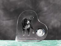 Berneński pies pasterski- Kryształoway zegar w kształcie serca z podobizną psa.