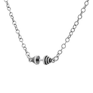 Fit Kolekcja - Naszyjnik ze sztangielką MINI oksydowane srebro