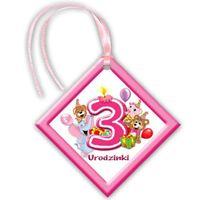 Zawieszki urodzinowe na butelki Moje 3 Urodzinki