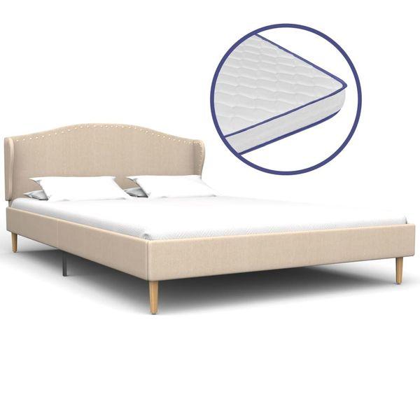 Łóżko Z Materacem Memory, Beżowe, Tkanina, 140X200 Cm zdjęcie 1