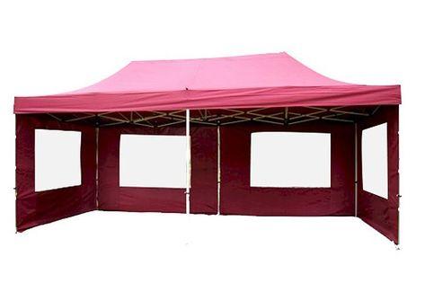Pawilon ogrodowy 3x6 m burgund, namiot handlowy ze ściankami
